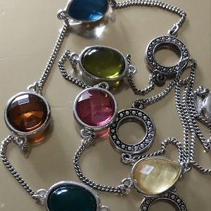 Silver Multicolor Stone Long Neclace